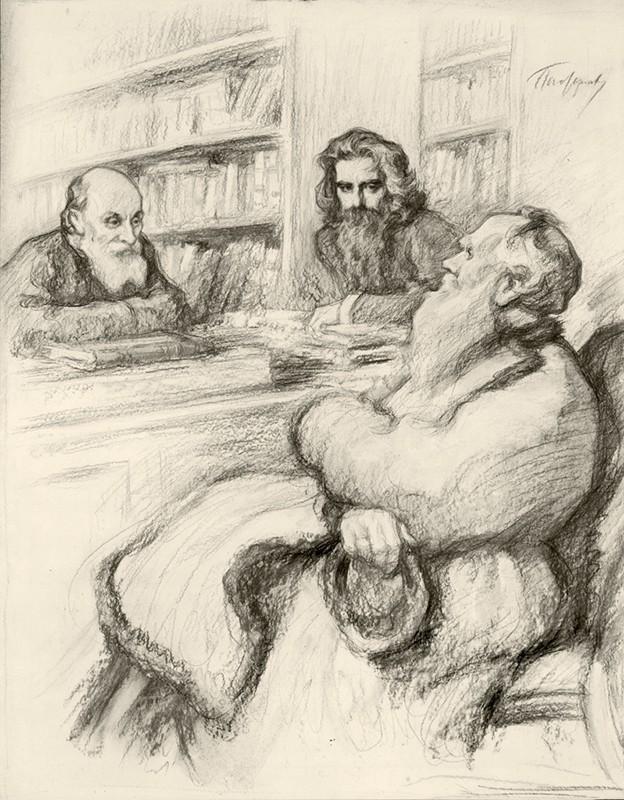 02. N. F. Fiodorov în stînga, V. S. Soloviev în centru și L. N. Tolstoi